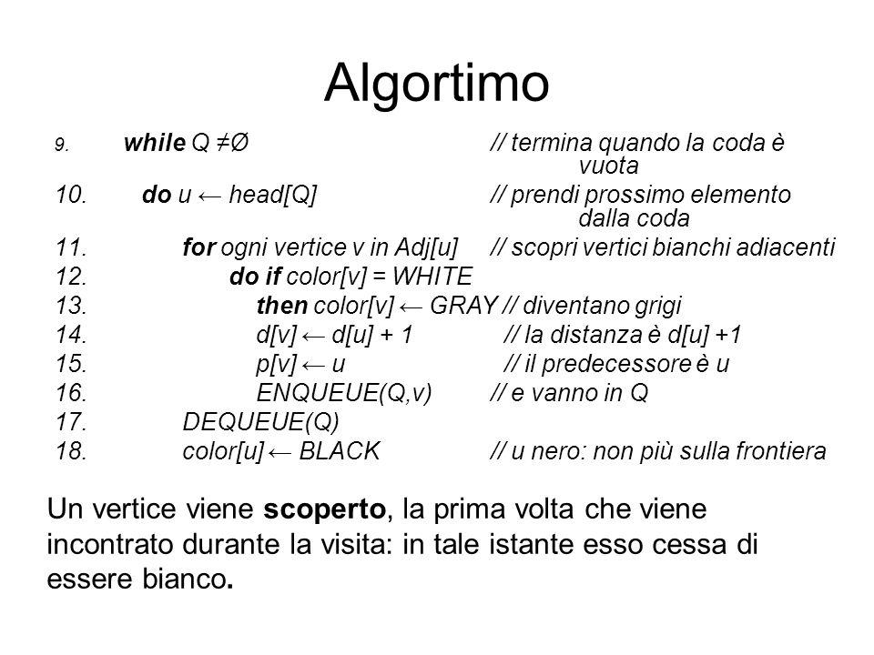 Algortimo 9. while Q Ø// termina quando la coda è vuota 10. do u head[Q]// prendi prossimo elemento dalla coda 11. for ogni vertice v in Adj[u]// scop