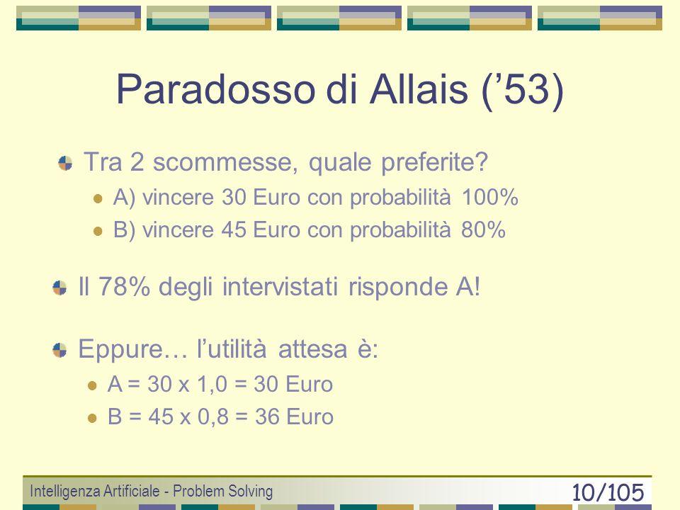 Intelligenza Artificiale - Problem Solving 9/105 Bias della razionalità Aristotele e l animale razionale 3 limiti della razionalità Informativi Cognit