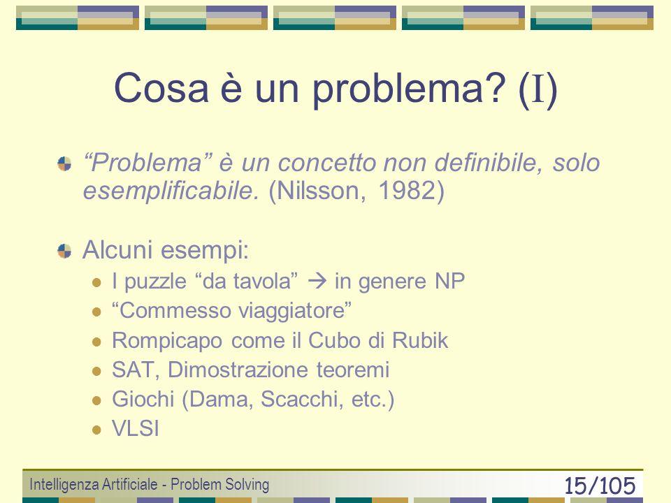 Intelligenza Artificiale - Problem Solving 14/105 Approccio Machine-Oriented Problem Solver che MANIFESTA intelligenza Algoritmi di Ricerca Problem So