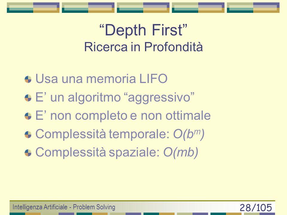 Intelligenza Artificiale - Problem Solving 27/105 Alcuni numeri depthN° nodiTempoMemoria 2 1111 msec11 KB 4 111110,1 sec1 MB 6 >10 6 10 sec>100 MB 8 >