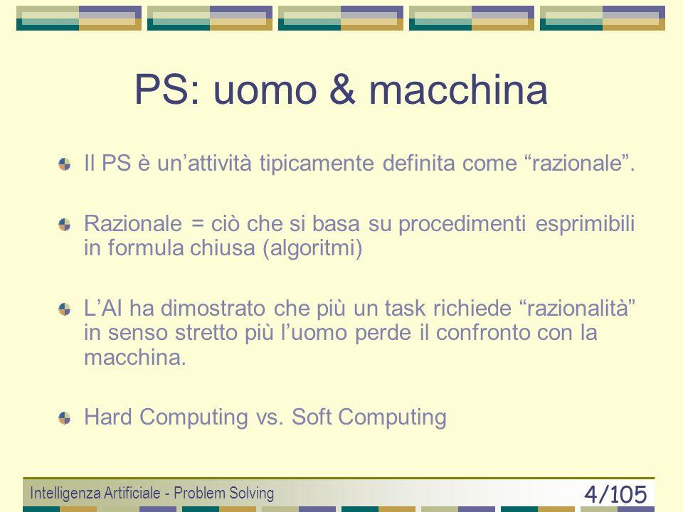 Intelligenza Artificiale - Problem Solving 24/105 Algoritmo Generale di Search Struttura Generale 1.if (goal_test(x 0 )== true) return SUCCESS 2.else CODA.insert(x 0 ) 3.do { if (CODA.isEmpty()) return FAILURE nodo = CODA.remove() figli[] = SCS(nodo) CODA.insert(figli) } while( goal_test(nodo)== false ) 4.return SUCCESS