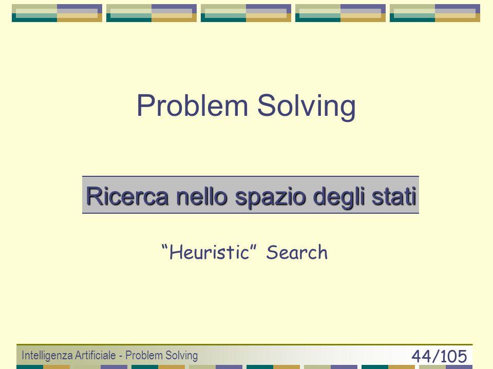 Intelligenza Artificiale - Problem Solving 43/105 Branching factor effettivo b* Fattore di ramificazione reale di un processo di ricerca. E valutabile