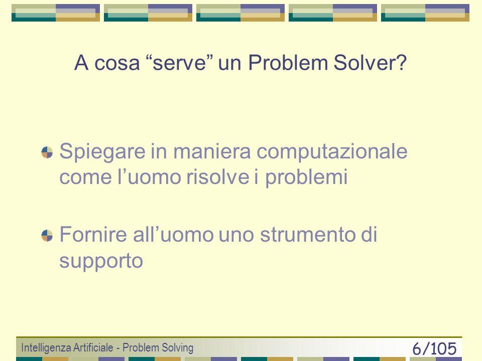 Intelligenza Artificiale - Problem Solving 5/105 Come costruire un Problem Solver ? Approccio Human-oriented (cognitivista) Deve SIMULARE lattività in