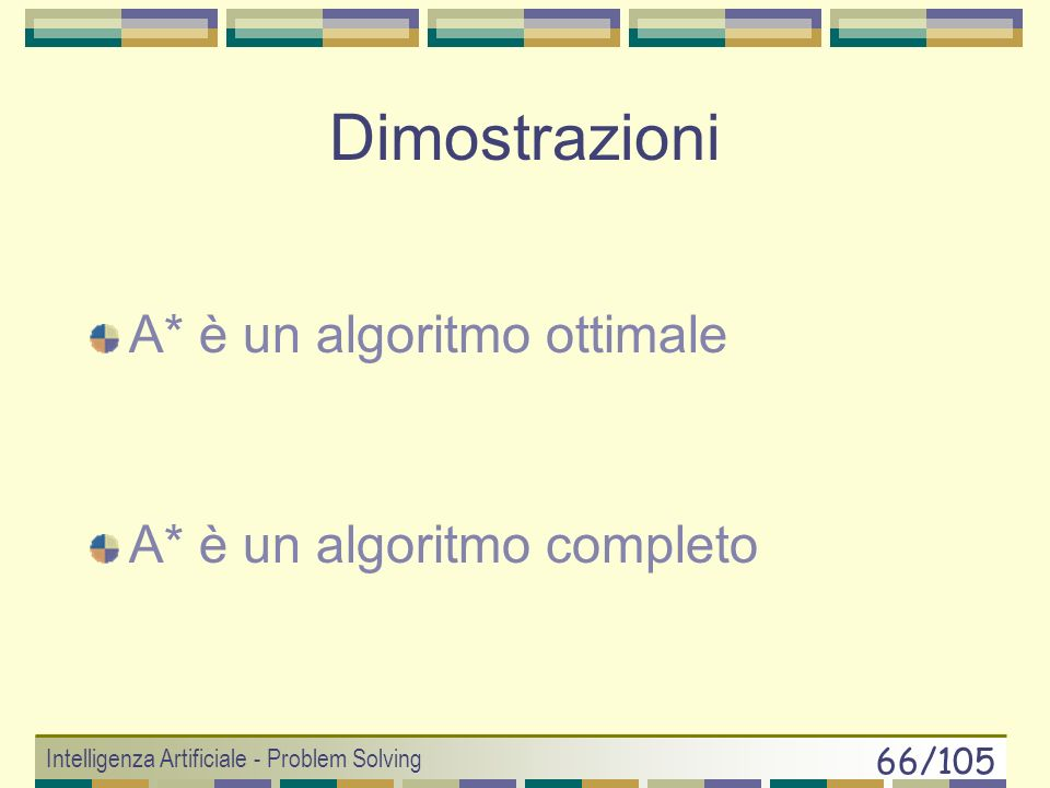 Intelligenza Artificiale - Problem Solving 65/105 Algoritmo A* 1.if (goal_test(x 0 )== true) return SUCCESS 2.else OPEN.insert(x 0, g(x 0 )+h(x 0 ) )
