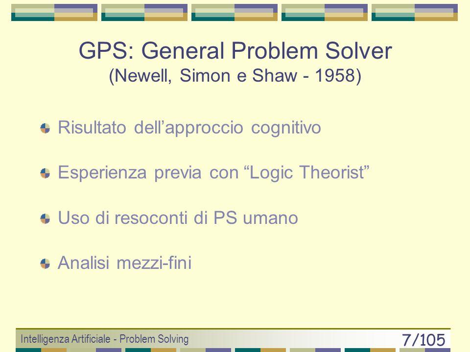 Intelligenza Artificiale - Problem Solving 7/105 GPS: General Problem Solver (Newell, Simon e Shaw - 1958) Risultato dellapproccio cognitivo Esperienza previa con Logic Theorist Uso di resoconti di PS umano Analisi mezzi-fini