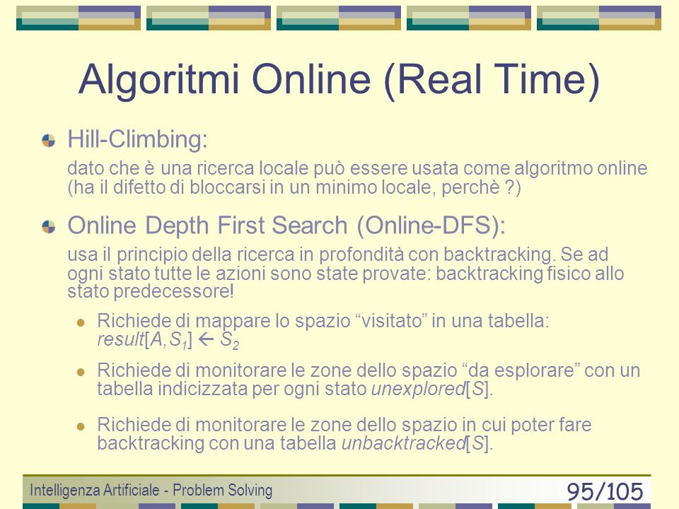 Intelligenza Artificiale - Problem Solving 94/105 Online Search PROBLEMI: DEAD END: se gli operatori sono irreversibili allora non è possibile garanti