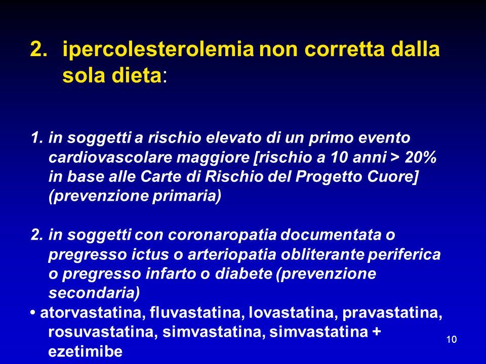 10 2.ipercolesterolemia non corretta dalla sola dieta: 1.in soggetti a rischio elevato di un primo evento cardiovascolare maggiore [rischio a 10 anni