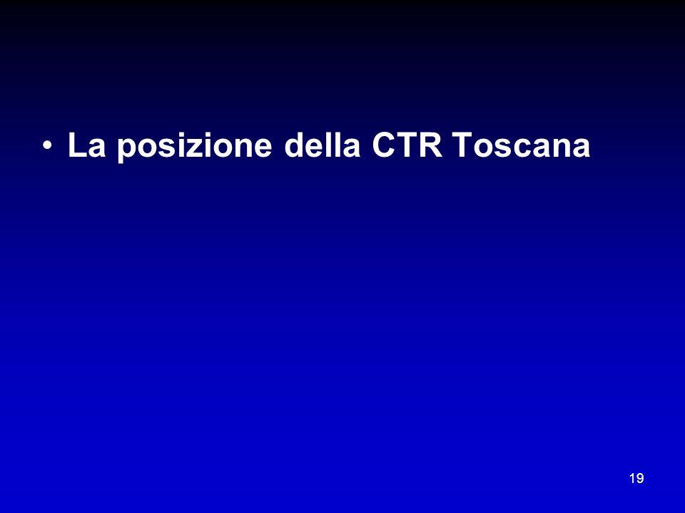 19 La posizione della CTR Toscana