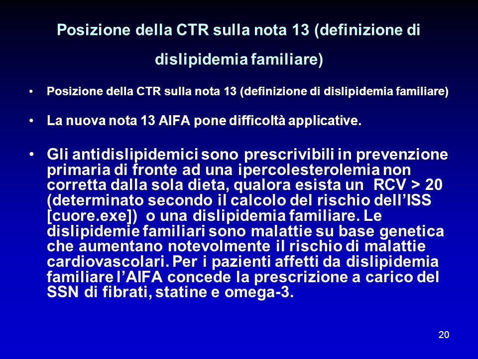 20 Posizione della CTR sulla nota 13 (definizione di dislipidemia familiare) La nuova nota 13 AIFA pone difficoltà applicative. Gli antidislipidemici