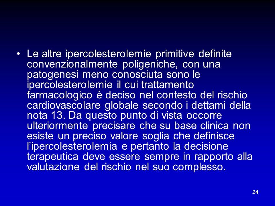 24 Le altre ipercolesterolemie primitive definite convenzionalmente poligeniche, con una patogenesi meno conosciuta sono le ipercolesterolemie il cui