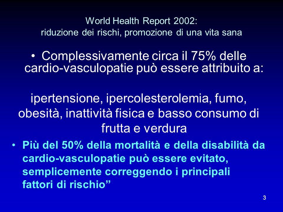 World Health Report 2002: riduzione dei rischi, promozione di una vita sana Complessivamente circa il 75% delle cardio-vasculopatie può essere attribu
