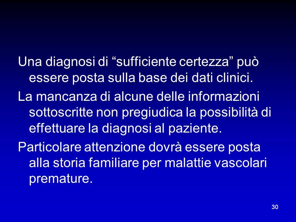 30 Una diagnosi di sufficiente certezza può essere posta sulla base dei dati clinici. La mancanza di alcune delle informazioni sottoscritte non pregiu
