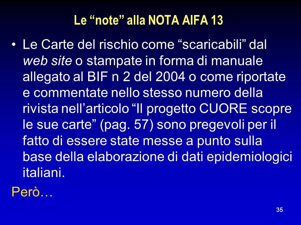 35 Le note alla NOTA AIFA 13 Le Carte del rischio come scaricabili dal web site o stampate in forma di manuale allegato al BIF n 2 del 2004 o come rip