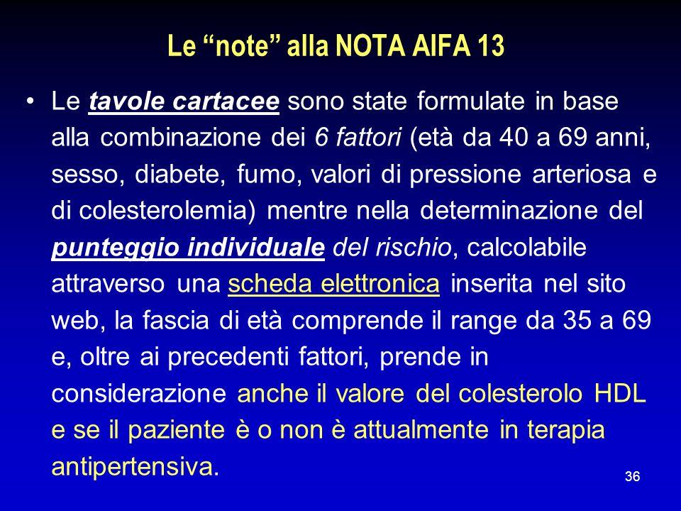 36 Le note alla NOTA AIFA 13 Le tavole cartacee sono state formulate in base alla combinazione dei 6 fattori (età da 40 a 69 anni, sesso, diabete, fum