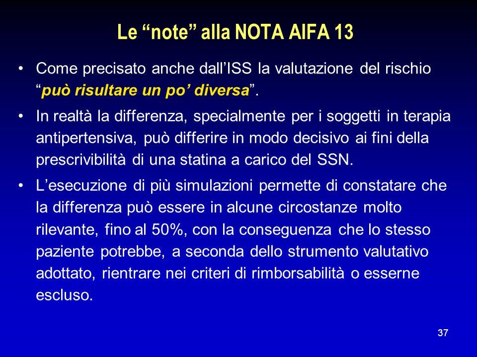 37 Le note alla NOTA AIFA 13 Come precisato anche dallISS la valutazione del rischiopuò risultare un po diversa. In realtà la differenza, specialmente