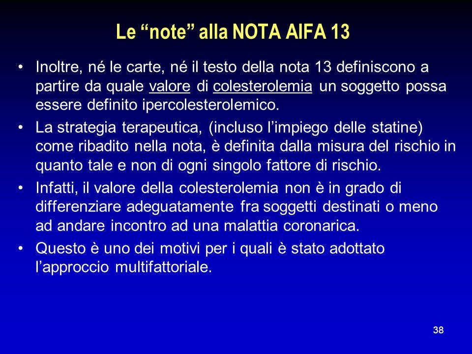 38 Le note alla NOTA AIFA 13 Inoltre, né le carte, né il testo della nota 13 definiscono a partire da quale valore di colesterolemia un soggetto possa