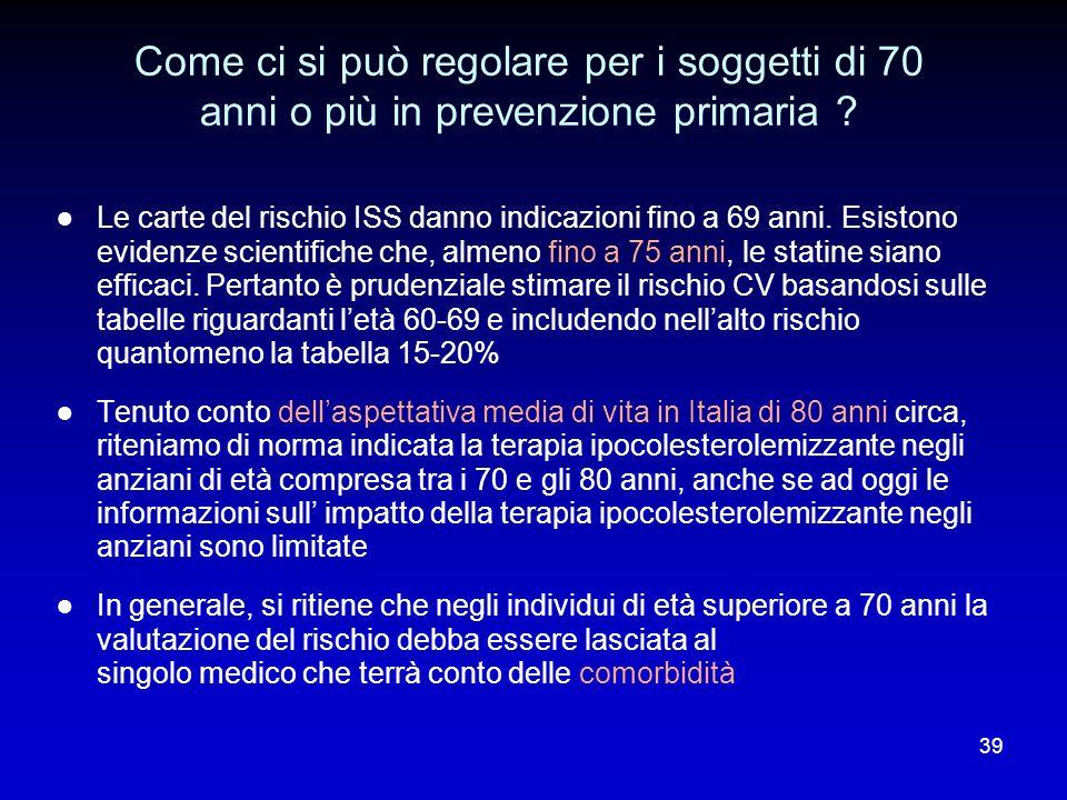 Come ci si può regolare per i soggetti di 70 anni o più in prevenzione primaria ? Le carte del rischio ISS danno indicazioni fino a 69 anni. Esistono