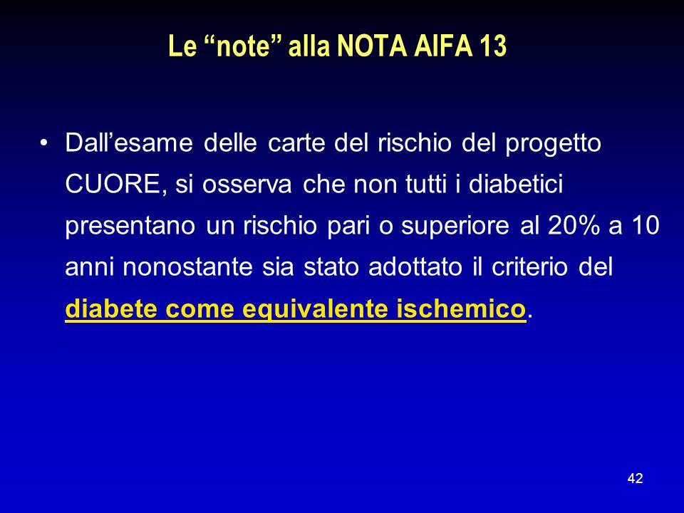 42 Le note alla NOTA AIFA 13 Dallesame delle carte del rischio del progetto CUORE, si osserva che non tutti i diabetici presentano un rischio pari o s
