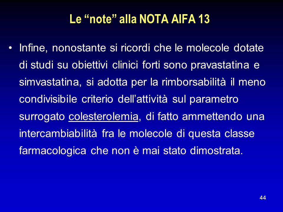 44 Le note alla NOTA AIFA 13 Infine, nonostante si ricordi che le molecole dotate di studi su obiettivi clinici forti sono pravastatina e simvastatina