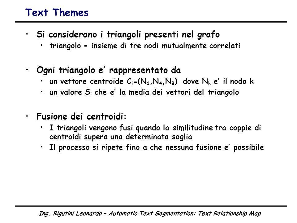 Ing. Rigutini Leonardo – Automatic Text Segmentation: Text Relationship Map Text Themes Si considerano i triangoli presenti nel grafo triangolo = insi