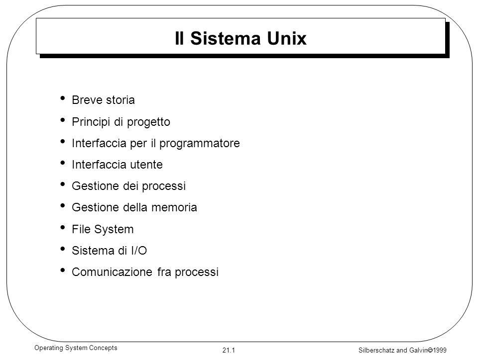 Silberschatz and Galvin 1999 21.1 Operating System Concepts Il Sistema Unix Breve storia Principi di progetto Interfaccia per il programmatore Interfa
