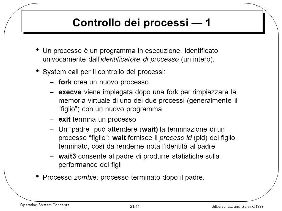 Silberschatz and Galvin 1999 21.11 Operating System Concepts Controllo dei processi 1 Un processo è un programma in esecuzione, identificato univocame