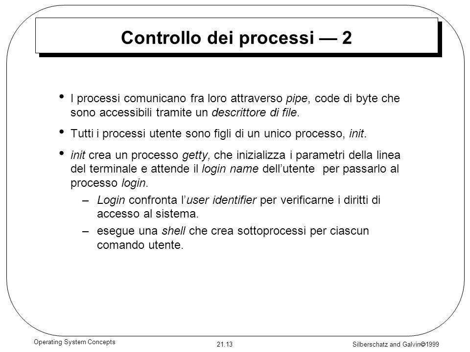 Silberschatz and Galvin 1999 21.13 Operating System Concepts Controllo dei processi 2 I processi comunicano fra loro attraverso pipe, code di byte che