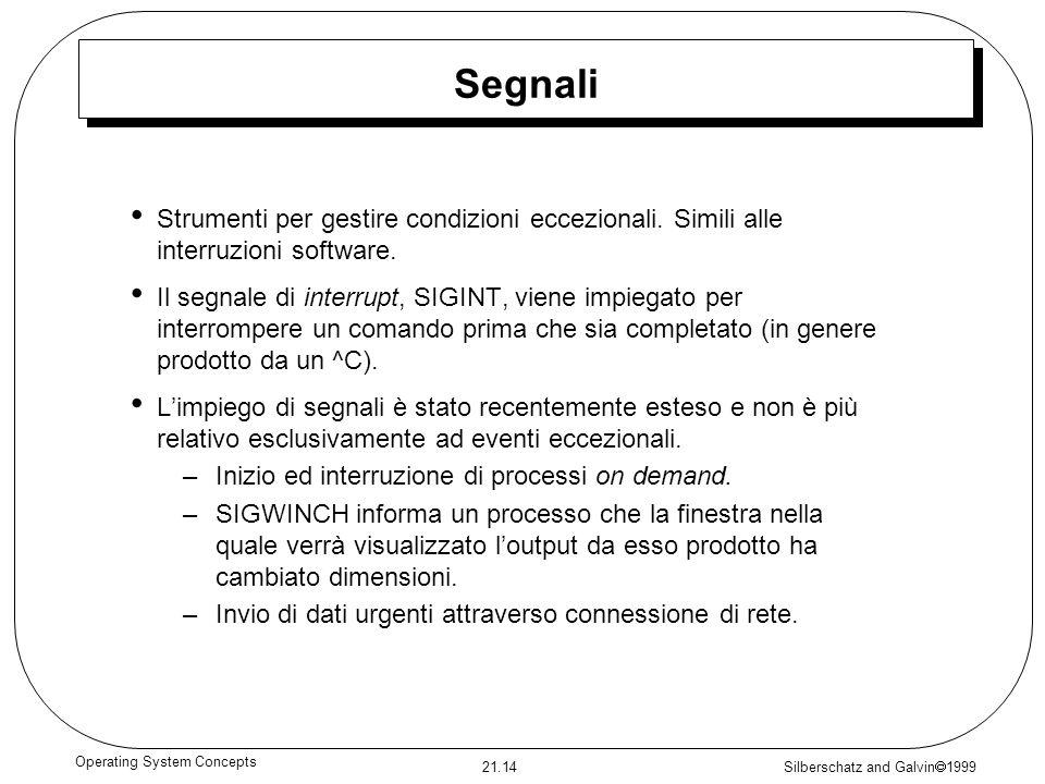 Silberschatz and Galvin 1999 21.14 Operating System Concepts Segnali Strumenti per gestire condizioni eccezionali. Simili alle interruzioni software.
