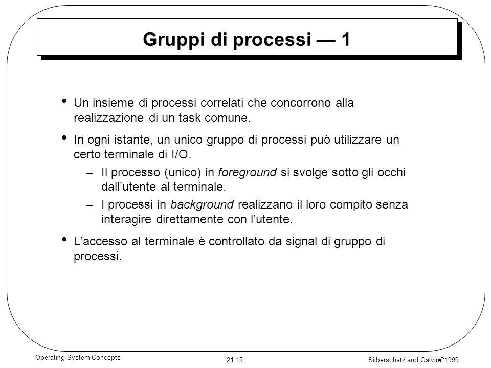 Silberschatz and Galvin 1999 21.15 Operating System Concepts Gruppi di processi 1 Un insieme di processi correlati che concorrono alla realizzazione d