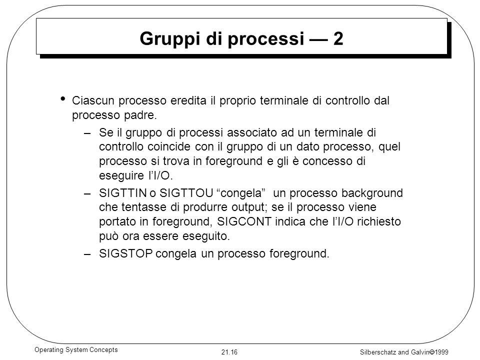 Silberschatz and Galvin 1999 21.16 Operating System Concepts Gruppi di processi 2 Ciascun processo eredita il proprio terminale di controllo dal proce