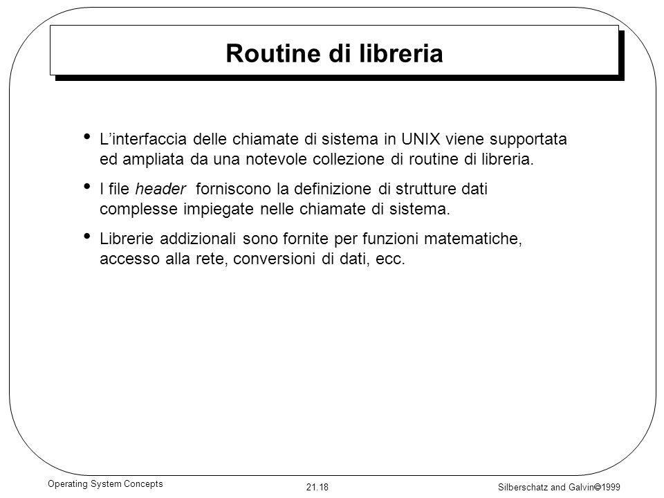 Silberschatz and Galvin 1999 21.18 Operating System Concepts Routine di libreria Linterfaccia delle chiamate di sistema in UNIX viene supportata ed am