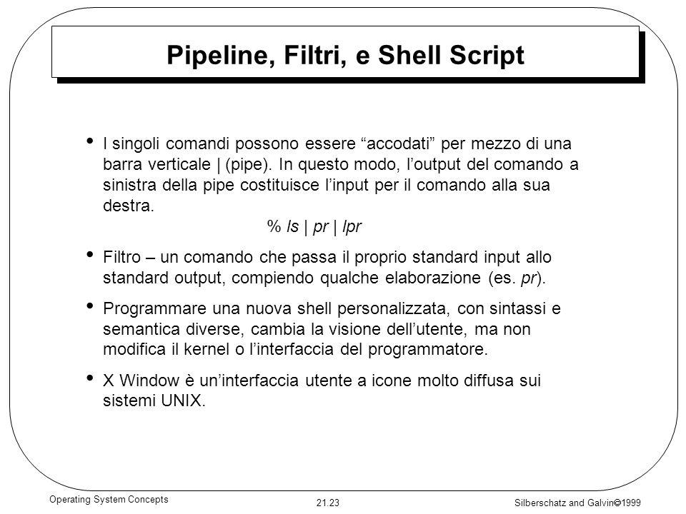 Silberschatz and Galvin 1999 21.23 Operating System Concepts Pipeline, Filtri, e Shell Script I singoli comandi possono essere accodati per mezzo di u