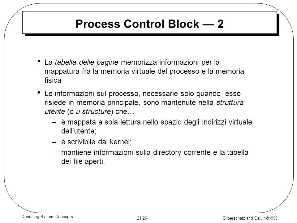 Silberschatz and Galvin 1999 21.26 Operating System Concepts Process Control Block 2 La tabella delle pagine memorizza informazioni per la mappatura f
