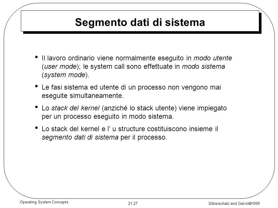 Silberschatz and Galvin 1999 21.27 Operating System Concepts Segmento dati di sistema Il lavoro ordinario viene normalmente eseguito in modo utente (u