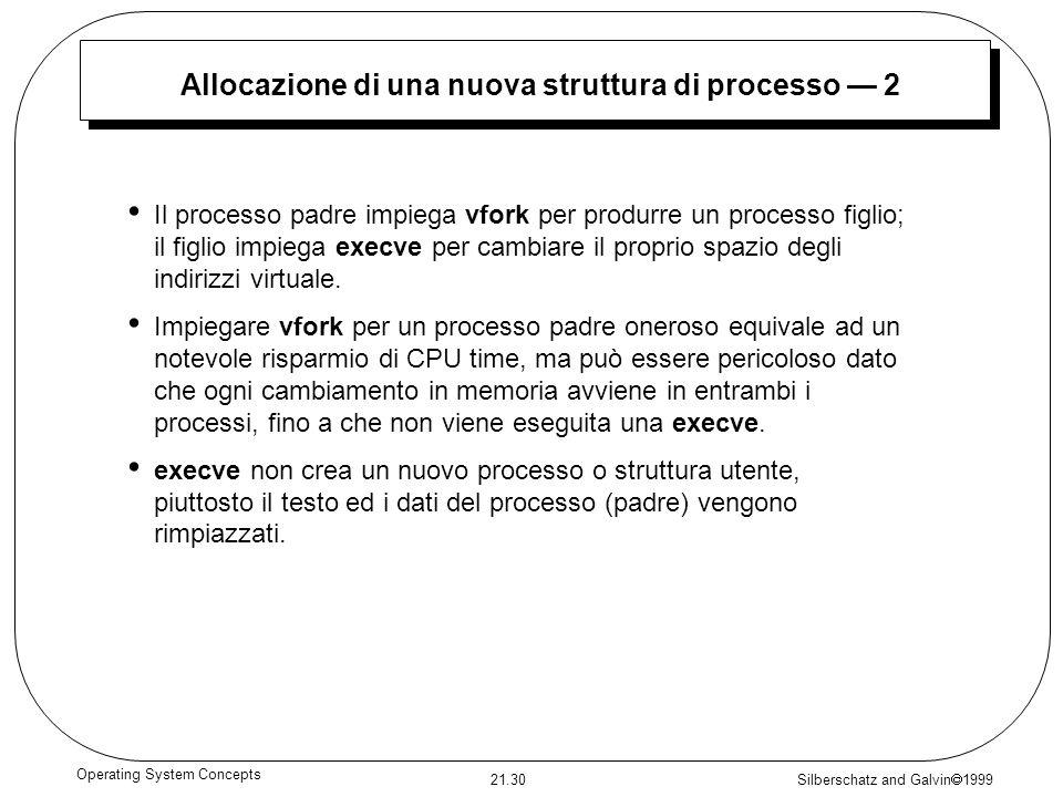 Silberschatz and Galvin 1999 21.30 Operating System Concepts Allocazione di una nuova struttura di processo 2 Il processo padre impiega vfork per prod