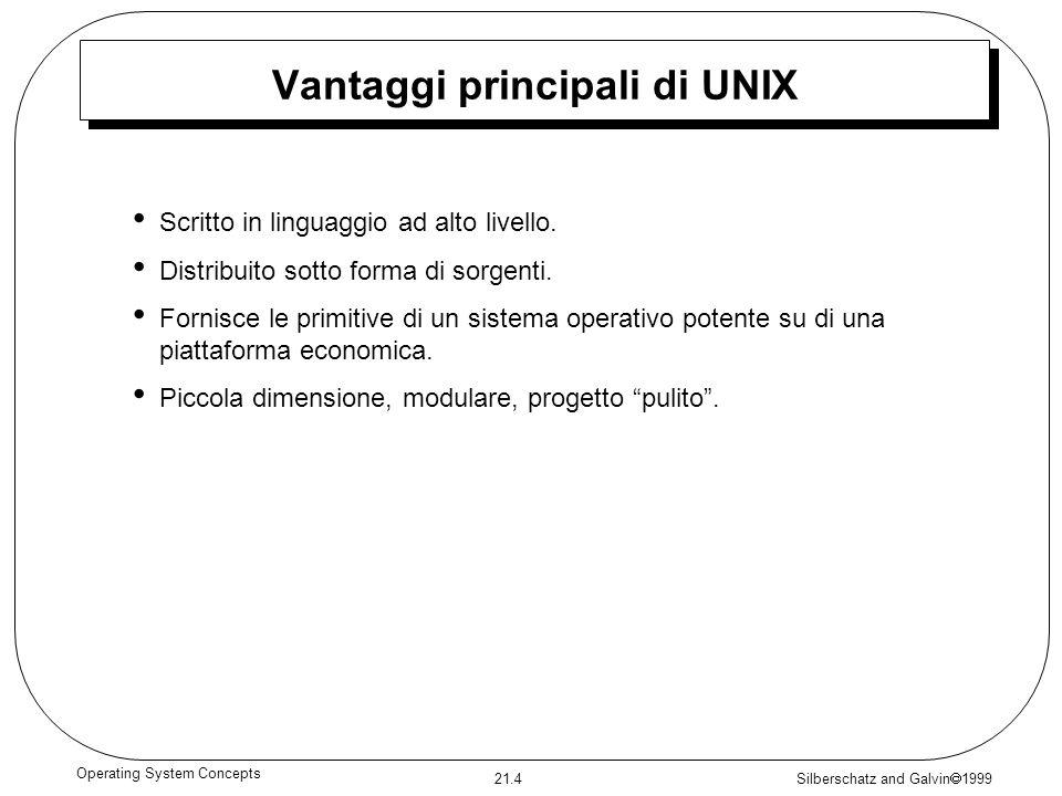 Silberschatz and Galvin 1999 21.4 Operating System Concepts Vantaggi principali di UNIX Scritto in linguaggio ad alto livello. Distribuito sotto forma
