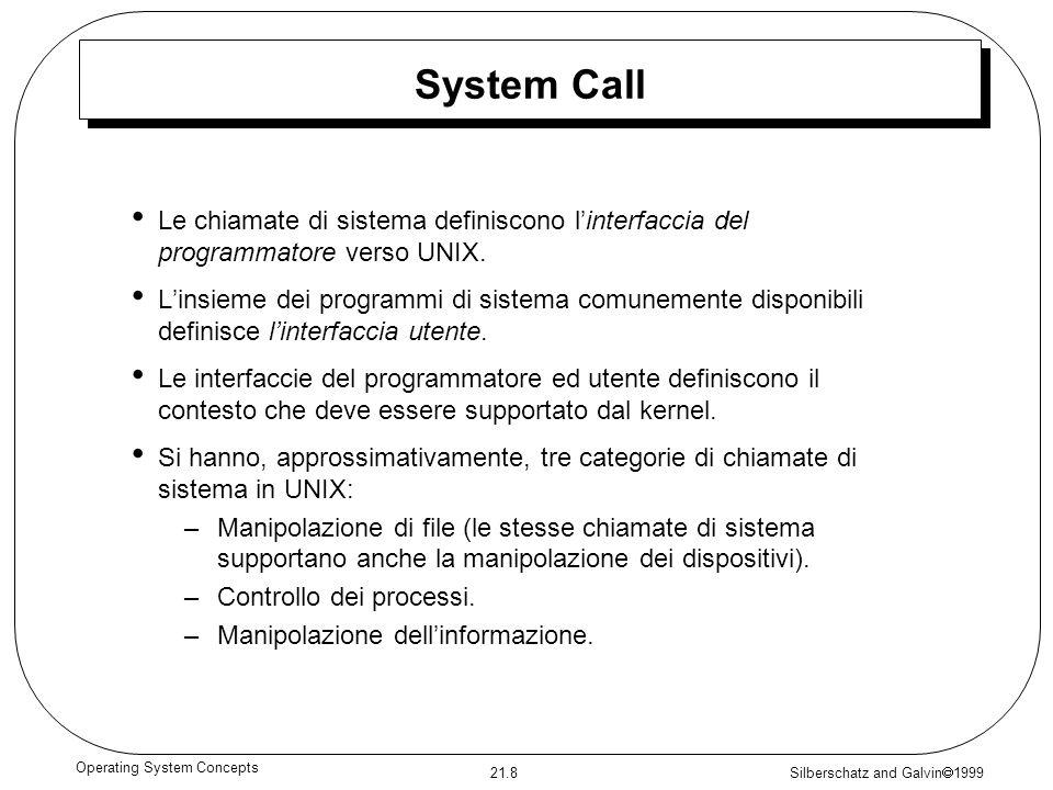 Silberschatz and Galvin 1999 21.8 Operating System Concepts System Call Le chiamate di sistema definiscono linterfaccia del programmatore verso UNIX.