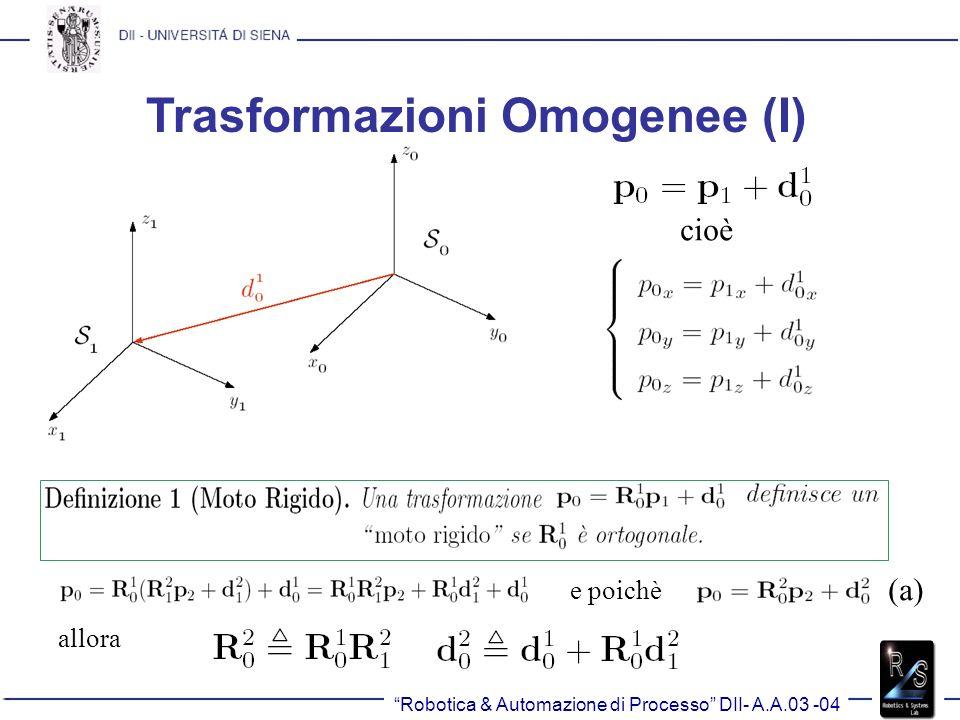 Trasformazioni Omogenee (I) cioè e poichè allora (a)