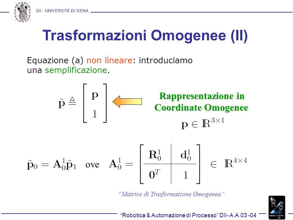 Trasformazioni Omogenee (II) Equazione (a) non lineare: introduciamo una semplificazione. Rappresentazione in Rappresentazione in Coordinate Omogenee