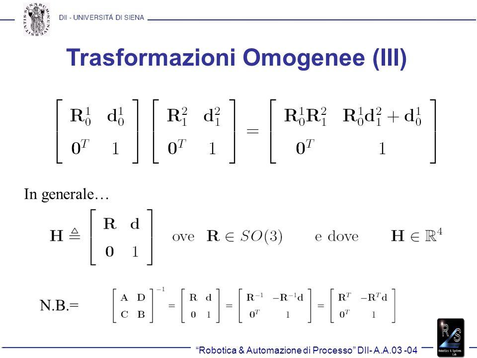 Trasformazioni Omogenee (III) In generale… N.B.=