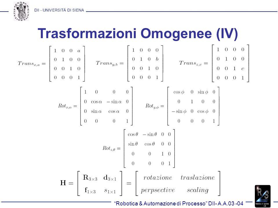 Robotica & Automazione di Processo DII- A.A.03 -04 Trasformazioni Omogenee (IV)