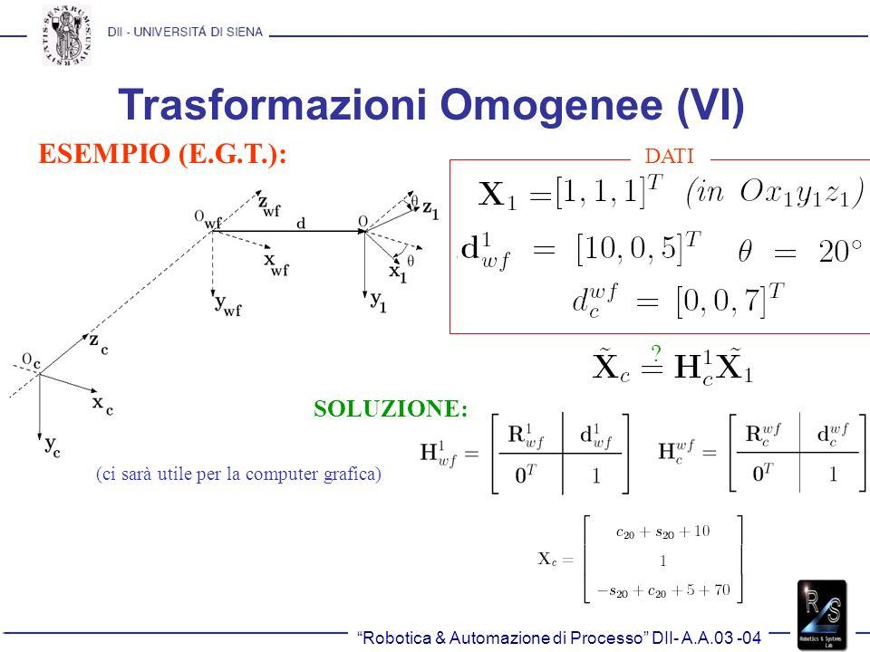 Trasformazioni Omogenee (VI) ESEMPIO (E.G.T.): (ci sarà utile per la computer grafica) DATI ? SOLUZIONE: Robotica & Automazione di Processo DII- A.A.0