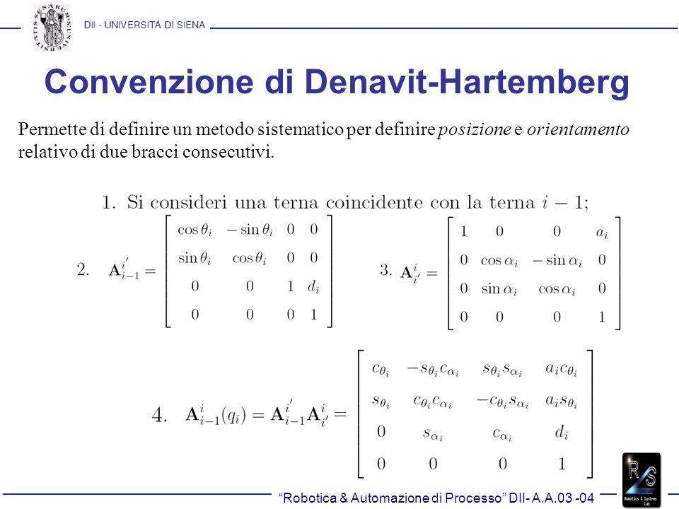 Convenzione di Denavit-Hartemberg Permette di definire un metodo sistematico per definire posizione e orientamento relativo di due bracci consecutivi.