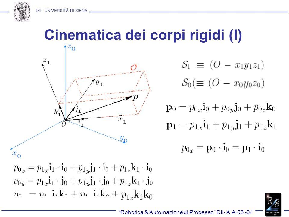 Cinematica dei corpi rigidi (I) Robotica & Automazione di Processo DII- A.A.03 -04