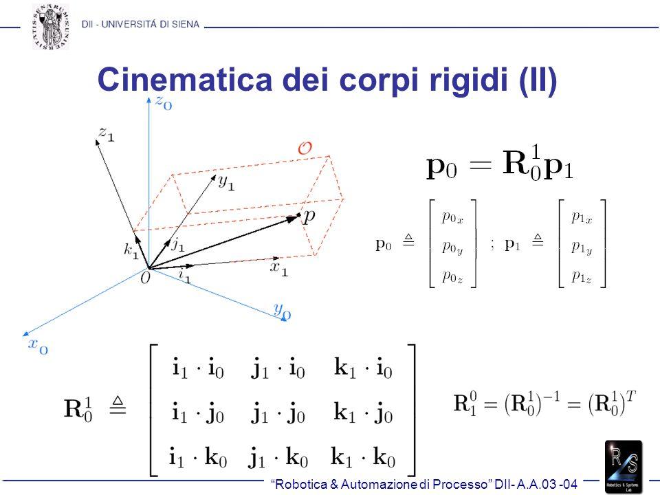 Cinematica dei corpi rigidi (II) Robotica & Automazione di Processo DII- A.A.03 -04