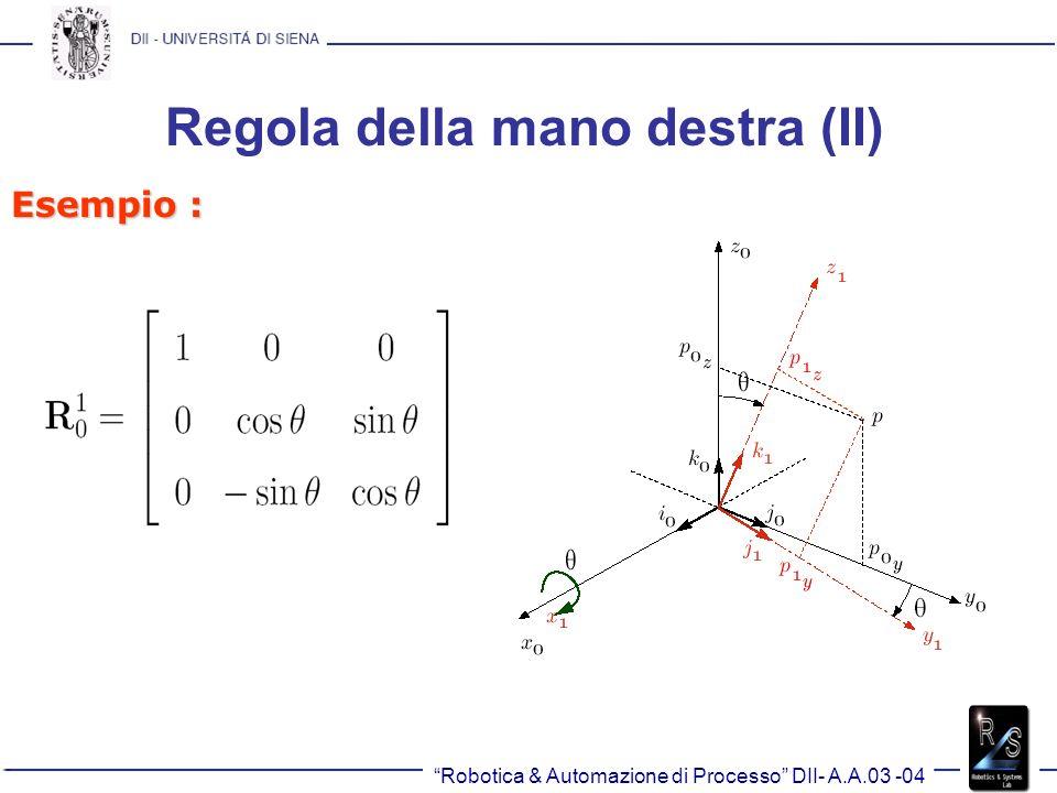 Regola della mano destra (II) Esempio : Robotica & Automazione di Processo DII- A.A.03 -04