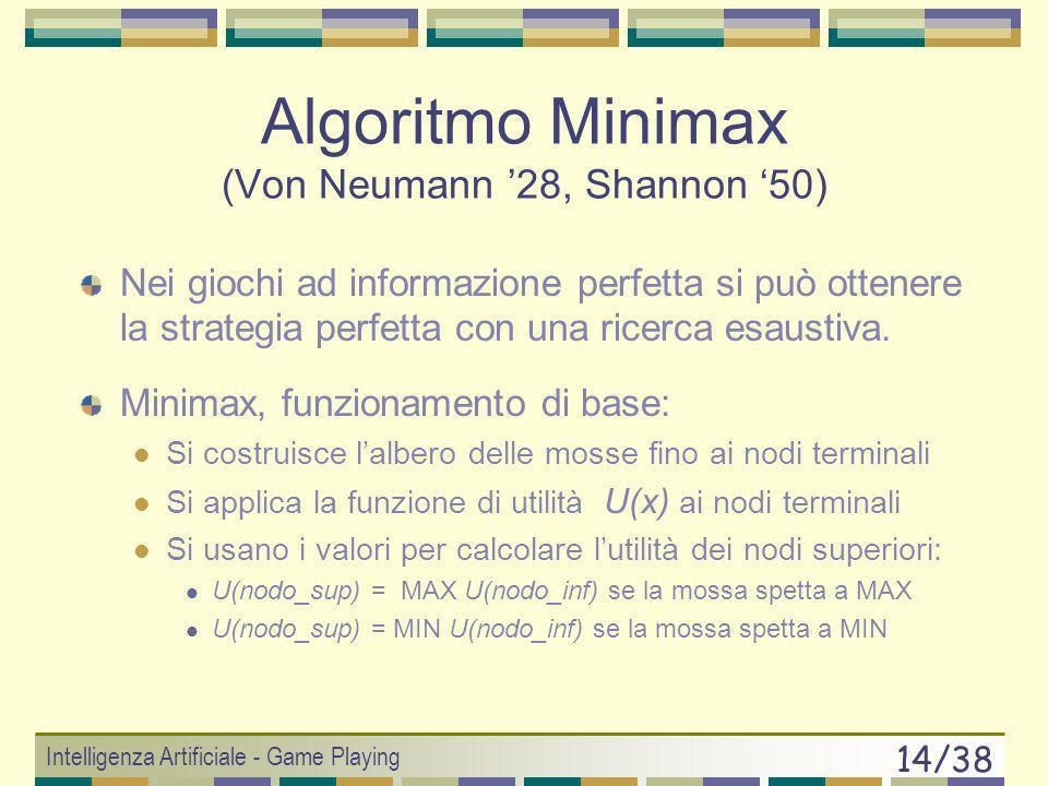 Intelligenza Artificiale - Game Playing 13/38 Giochi e Problem Solving (3) Per inserire un gioco ad informazione perfetta in uno schema classico di se