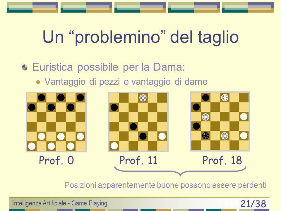 Intelligenza Artificiale - Game Playing 20/38 Euristiche per Giochi Funzioni lineari pesate w 1 f 1 + w 2 f 2 + … + w n f n Per esempio negli scacchi: