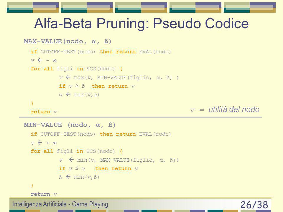 Intelligenza Artificiale - Game Playing 25/38 Alfa-Beta pruning (2) Nella ricerca nellalbero: Si usano 2 variabili: = valore maggiore di MAX al tempo
