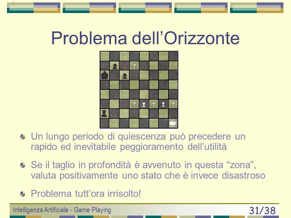 Intelligenza Artificiale - Game Playing 30/38 Ancora problemini Problema dellorizzonte Eccessiva fiducia nelleuristica Eventi stocastici Branching Fac